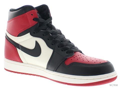 "【US9】AIR JORDAN 1 RETRO HIGH OG ""BRED TOE"" 555088-610 gym red/black-summit white"