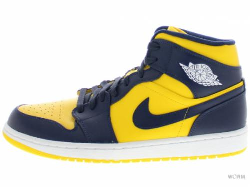 【US10】AIR JORDAN 1 MID 554724-707 varsity maize/dnght navy-wht