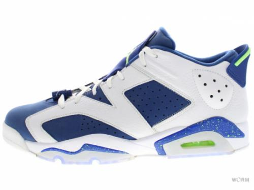 "AIR JORDAN 6 RETRO LOW ""SEAHAWKS"" 304401-106 white/ghost green-insgn blue"