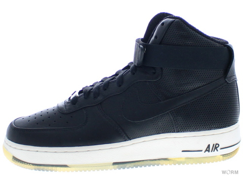 【US8】NIKE AIR FORCE 1 HIGH PREMIUM LE 386161-001 black/black-sail
