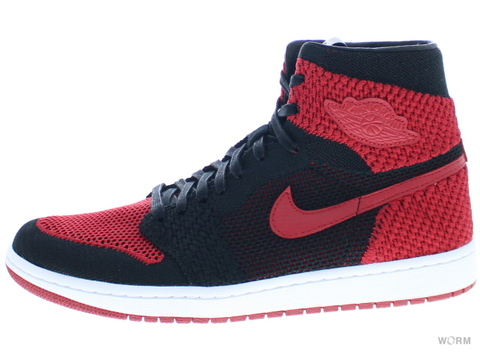【US10】AIR JORDAN 1 RETRO HI FLYKNIT 919704-001 black/varsity red-white